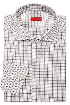 Isaia Men's Windowpane Wool Dress Shirt