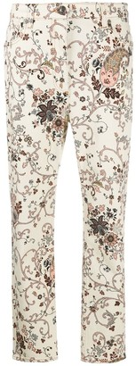 Etro Floral-Print Cropped Jeans