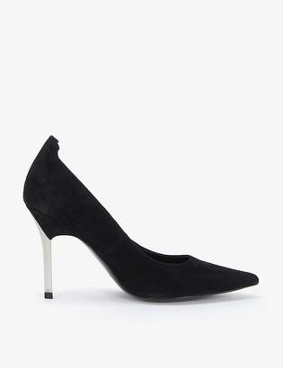 Reiss Chantelle metallic-heel suede courts
