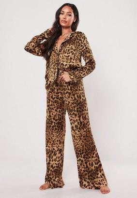 Missguided Leopard Print Satin Pyjama Bottoms