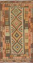 Ecarpetgallery Hand-woven Hereke Kilim Geometric 3' x 6' Ivory 100% Wool area rug