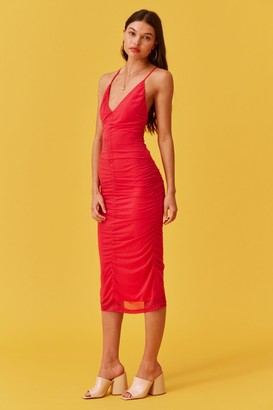 Finders Keepers SABINA BODYCON MIDI DRESS fuchsia