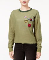 Rebellious One Juniors' Military Patch Sweatshirt