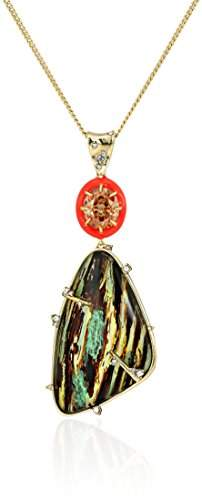 Alexis Bittar Wood Grain with Accent Pendant Necklace