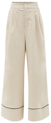 STAUD Rory High-rise Linen-blend Wide-leg Trousers - Beige