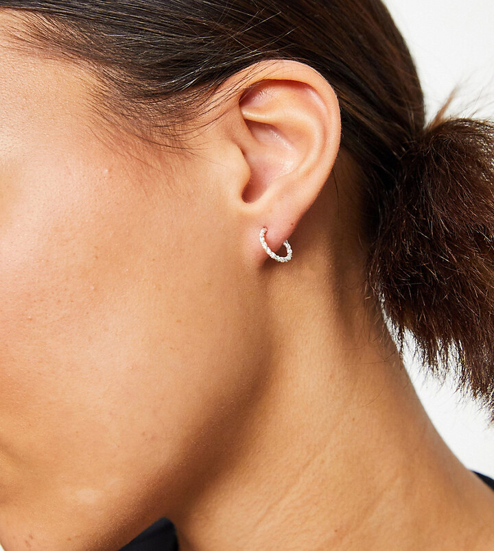 ASOS DESIGN sterling silver hoop earrings in engraved twist design
