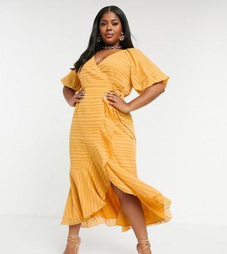 ASOS DESIGN Curve wrap maxi dress in self stripe in mustard