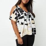River Island Womens Plus beige square print cold shoulder top