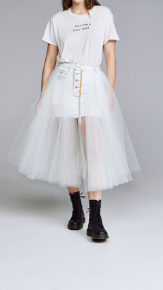 Unravel Project Short Washout Denim Tulle Skirt