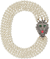 Gucci Glass pearl necklace with crystal lion head