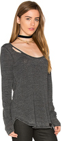 Chaser Open Back Deconstructed Shirttail Tee in Charcoal. - size S (also in XS)