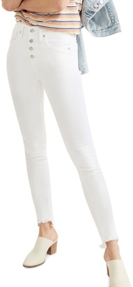 Madewell 10-Inch High Waist Button Front Ankle Skinny Jeans (Pure White) (Regular & Plus Size)