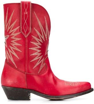 Golden Goose Contrast Stitched Cowboy Boots