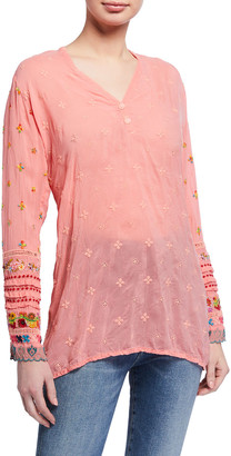 Johnny Was Embroidered-Trim Long-Sleeve Tunic