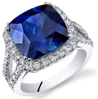 Oravo 7.75 ct Cushion Cut Created Blue Sapphire Ring in Sterling Silver