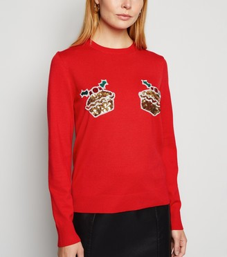 New Look Sequin Mince Pies Christmas Jumper
