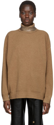 Alexander Wang Tan Wool Crystal Turtleneck