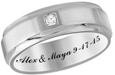 Zales Personalized Unisex Diamond Accent Wedding Band in 10K White or Yellow Gold (1 Line)