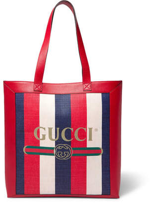 Gucci Leather-Trimmed Logo-Print Striped Canvas Tote Bag