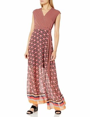 Taylor Dresses Women's V Neck Wrap Long Jersey Maxi Wth Chiffon Skirt
