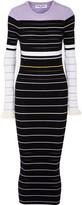 Opening Ceremony Ruffled Striped Ribbed-Knit Maxi Dress