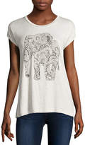 i jeans by Buffalo Short Sleeve Scoop Neck Elephant Screen Tee