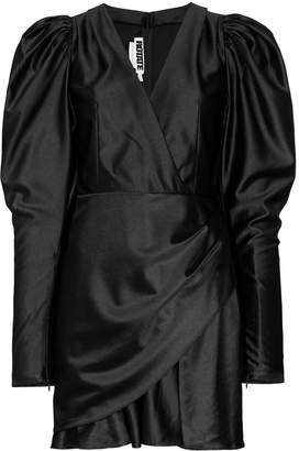 ROTATE puffer-sleeve V-neck mini dress