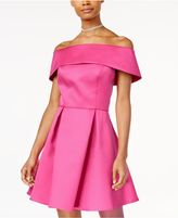 Jump Juniors' Off-The-Shoulder Satin Fit and Flare Dress