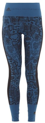 adidas by Stella McCartney Snake-print High-rise Technical Jersey Leggings - Blue Multi