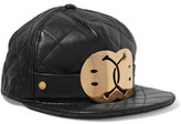 Moschino Embellished Quilted Leather Cap