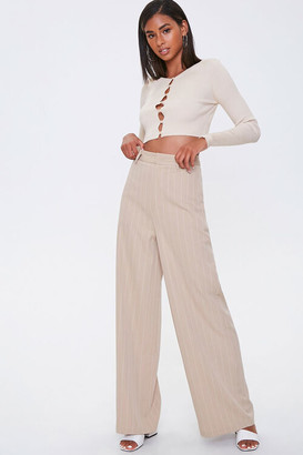 Forever 21 Pinstriped Wide-Leg Pants