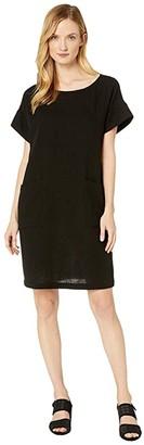 Eileen Fisher Organic Cotton Lofty Gauze Ballet Neck Short Sleeve Dress (Black) Women's Clothing