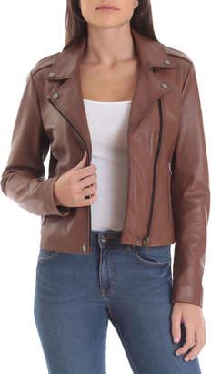 Badgley Mischka Lamb Leather Biker Jacket