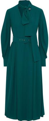 Emilia Wickstead Farnia Pussy-bow Belted Crepe Midi Dress