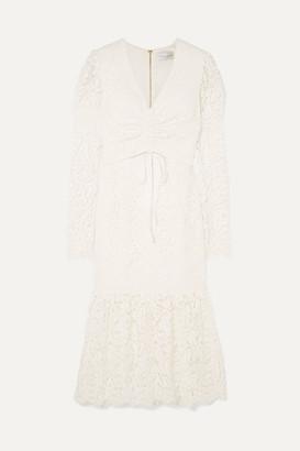 Rebecca Vallance Le Saint Ruched Lace Dress - Ivory