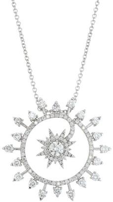 Plevé 18K White Gold Diamond Medium Starburst Pendant Necklace
