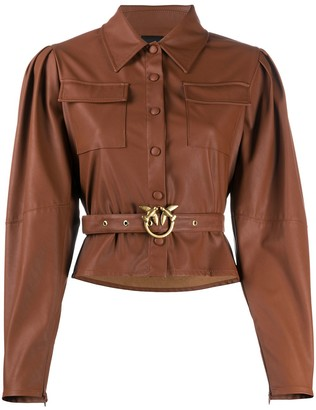 Pinko Faux Leather Belted Shirt