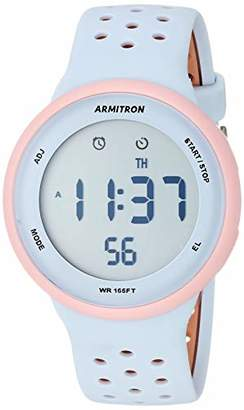Armitron Sport Unisex 40/8423PPB Light Pink Accented Digital Chronograph and Tan Perforated Silicone Strap Watch