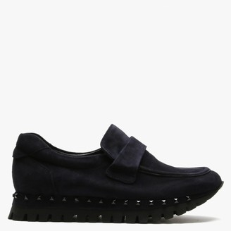 Kennel + Schmenger Kennel & Schmenger Flute Navy Suede Studded Sole Loafers