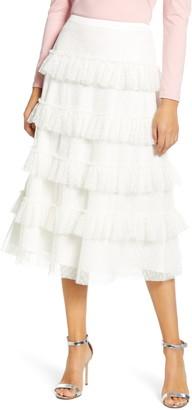 Rachel Parcell Tiered Dot Mesh Skirt