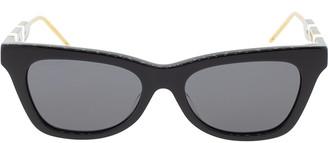 Gucci Black and Grey Shiny Cat-Eye Sunglasses