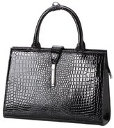 MG Collection Mathis Patent Top Handle Bag