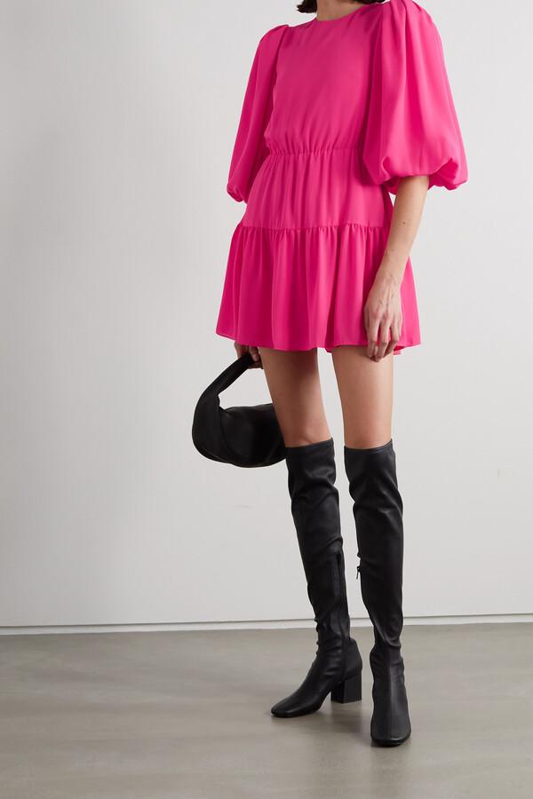 Alice + Olivia Shayla Tiered Crepe Mini Dress - Pink