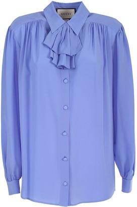Gucci crepe de Chine shirt detachable jabot detail