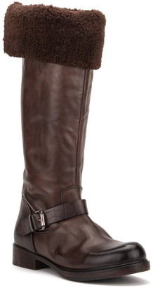Vintage Foundry London Tall Faux Fur Lined Leather Boot
