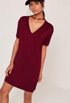 Missguided Choker Neck T Shirt Dress Red