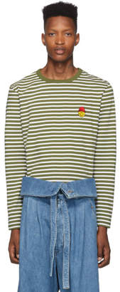 Ami Alexandre Mattiussi Green and White Striped Smiley Edition Long Sleeve T-Shirt
