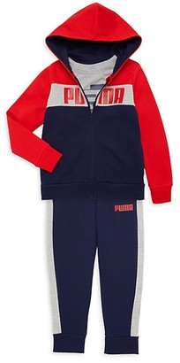 Puma Little Boy's 3-Piece Cotton-Blend Fleece Jacket, Tee Pants Set
