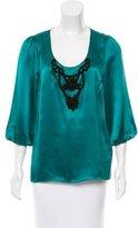 Tibi Embellished Silk Blouse