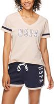 U.S. Polo Assn. Women's Sleep Bottoms ros - Rose & Navy Logo Pajama Set - Women